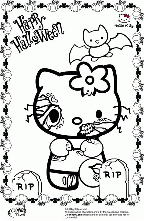 Halloween Hello Kitty Coloring Pages Coloring Home