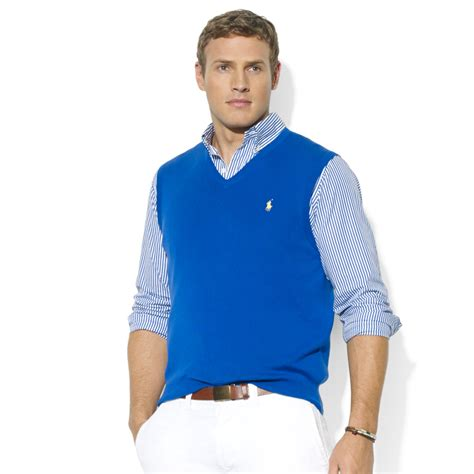 mens sweater vest lyst ralph vneck pima cotton sweater vest in blue