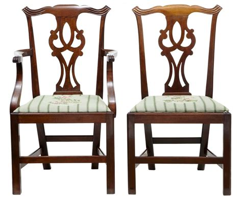 set of eight 19th century chippendale inspired mahogany
