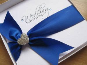 Royal Blue Wedding Invitation with Heart Embellishment