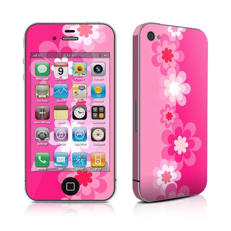 pink iphone 4 retro pink flowers iphone 4 skin covers iphone 4s for