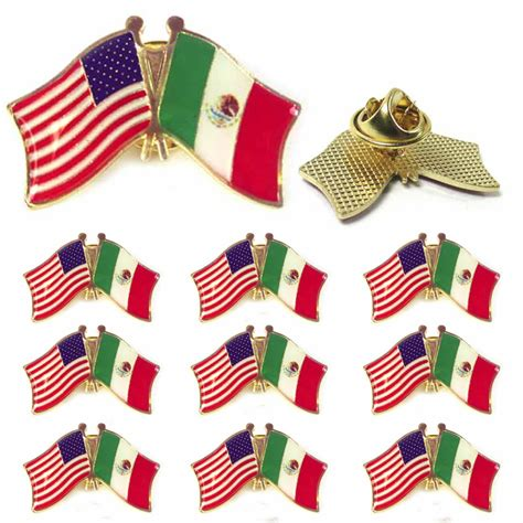 10 Mexico USA Crossed Friendship Flag Lapel Pin Support ...