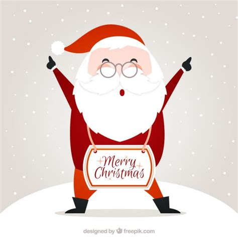 santa claus merry christmas card vector free download