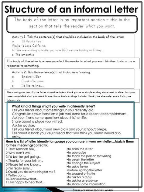 informal letter guided writing pack esl grades