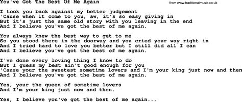Best Of You Lyrics You Ve Got The Best Of Me Again By George Jones Counrty