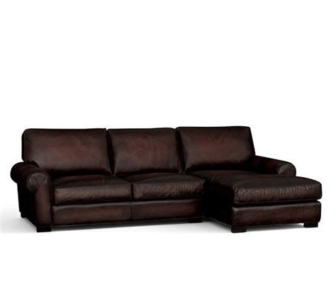 Pottery Barn Turner Sofa Look Alike by Turner Leather Roll Arm Sofa With Chaise Sectional
