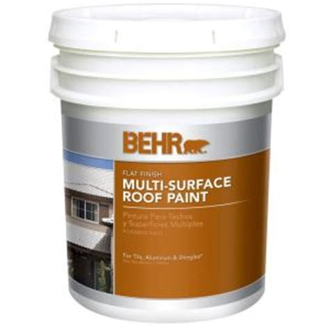 behr 5 gal white flat acrylic roof paint 06505