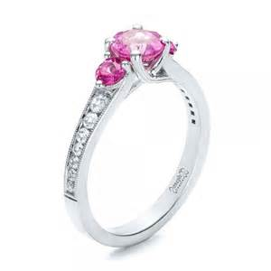 cheap sapphire engagement rings custom pink and white sapphire engagement ring 100883