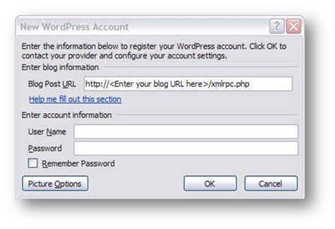 wordpress   register  ms word blog account