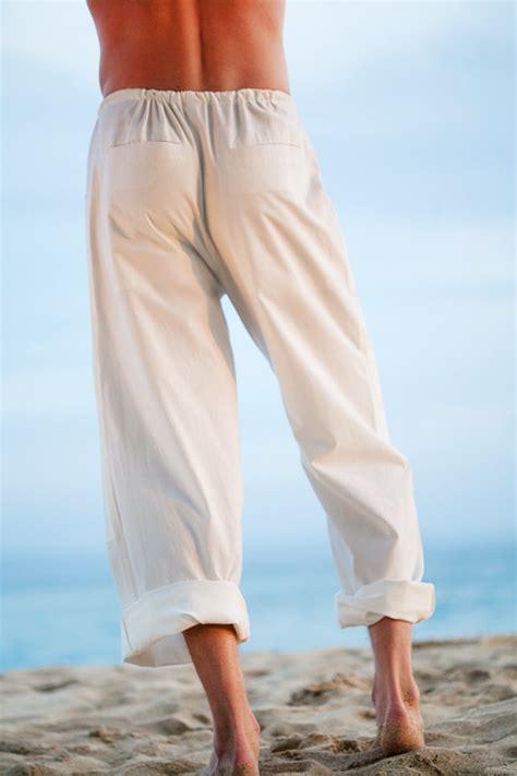 Kundalini Yoga Cotton Pants for Men, Loose Fit, White