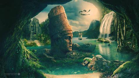 maya civilization sailing ship birds cave desktopography ...