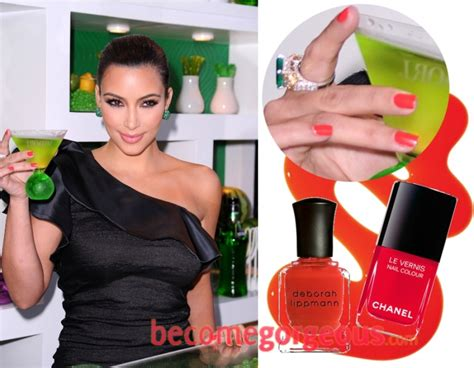 Fine Kim Kardashian Red Orange Nail Polish Festooning
