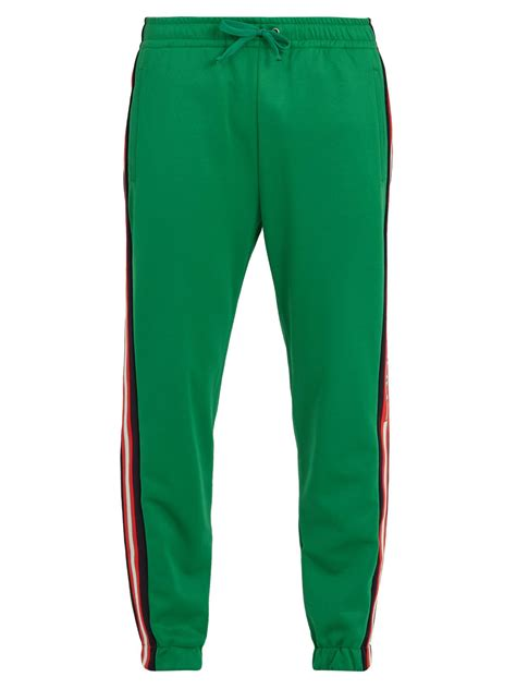 drawstring side stripe sweatpants gucci side stripe tapered leg jersey track trousers in