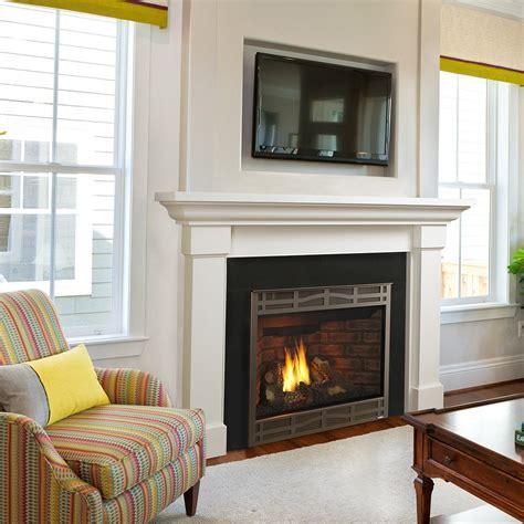 heat glo kenwood flush wood mantel fireplace stone patio