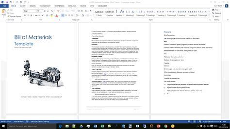 bill  materials template ms wordexcel templates