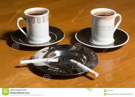 coffee  cigarettes stock photo image