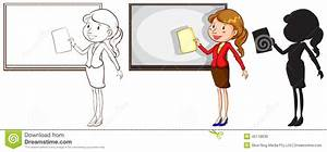 Sketches Of A Teacher In Different Colours Stock Vector