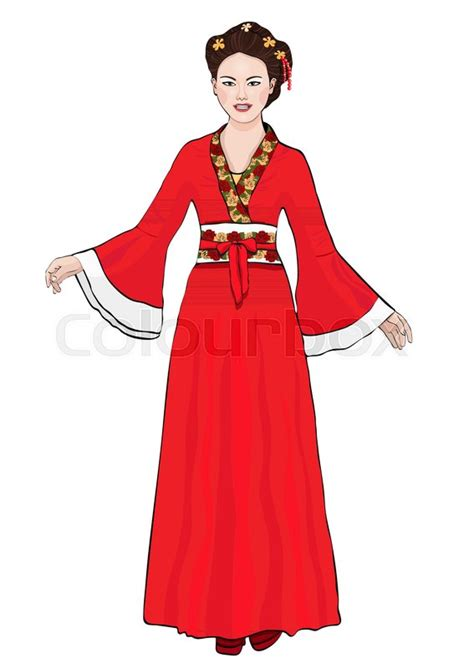 girl  chinese national costume stock vector