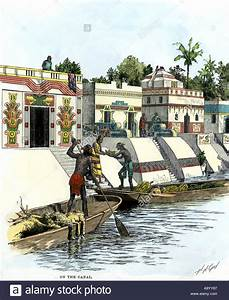 Aztec merchants on the canal in Tenochtitlan before the ...