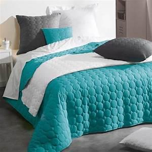 Couvre Lit Bleu Canard : couvre lit 220 x 240 cm candy bleu couvre lit boutis eminza ~ Teatrodelosmanantiales.com Idées de Décoration