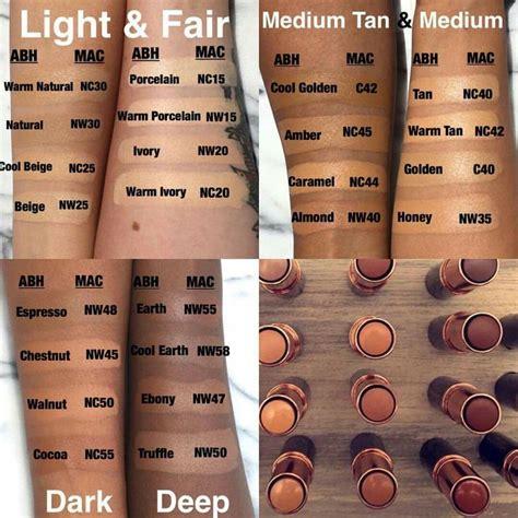 mac foundation color chart comparison of abh and mac colours mak 蟲p b a蟲t齒