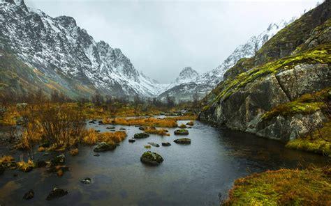 landscape winter snow mountain river rocks background hd