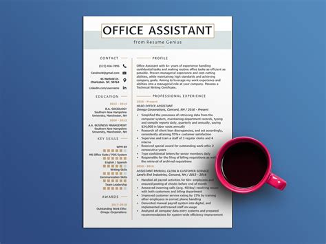 office assistant resume template  sample text