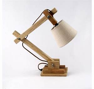Lampe De Chevet Ou Bureau En Bois Naturel Luminaire