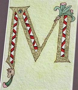 illuminated letter m on watercolor paper 9 x 11 paper With lighted letter m