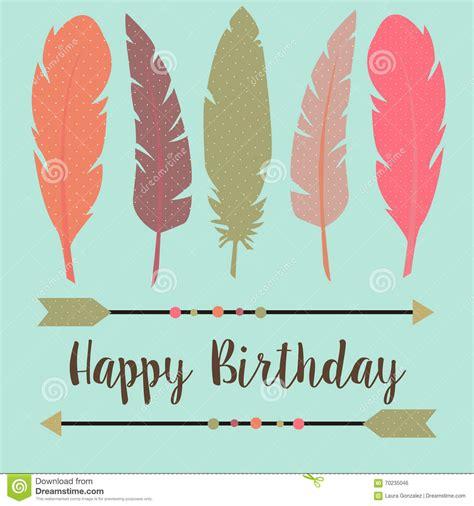 happy birthday  boho style stock vector illustration
