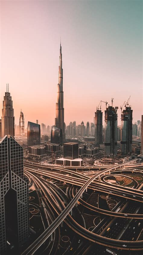 wallpaper dubai skyline cityscape skyscrapers burj