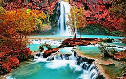 Nature Amazing Forest Beauty Landscape Waterfall Autumn