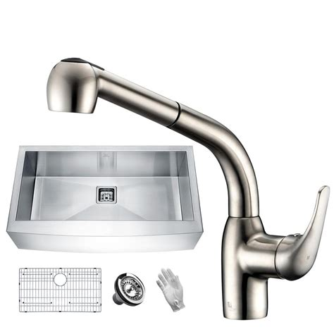 brushed stainless steel kitchen sinks anzzi elysian farmhouse stainless steel 36 in single bowl 7974