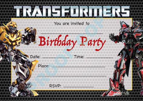 transformers party invitations template transformers megatron kids children birthday party