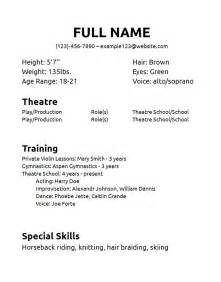 theatre resume exles sle theatre resume template resumes design