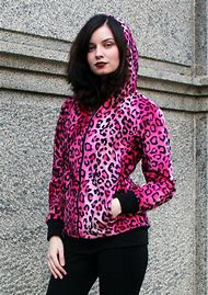Red Leopard Plus Size Zipper Hoodie