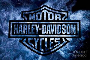 Harley Davidson Logo Blue Digital Art by Randy Steele