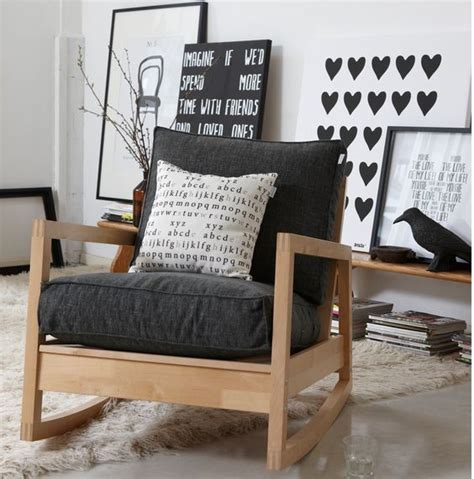 lovely ikea lillberg rocking chair wood black and white home inspiration