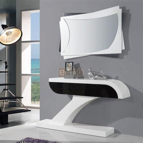 Console Entrée Moderne Laque Bicolore Miroir Assorti Brasilia