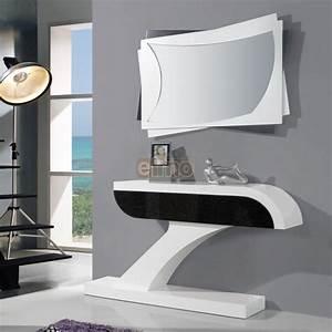 Console D Entrée Design : console entr e moderne laque bicolore miroir assorti brasilia ~ Teatrodelosmanantiales.com Idées de Décoration