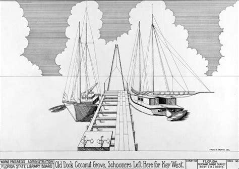 florida memory drawing  schooners    dock