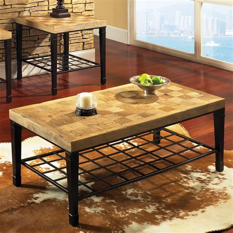 Modern live edge elm slab coffee table with inner knot in bizarre pattern shape and tree rings. Steve Silver Belize Rectangle Light Oak Wood Coffee Table at Hayneedle