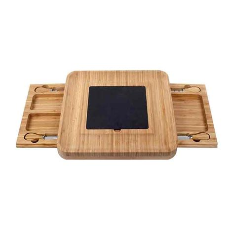 bamboo cheese board  stainless steel cutlery  removable slate set view bamboo