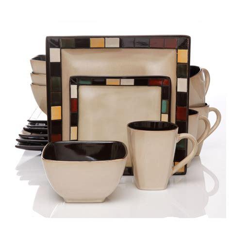 Viereckiges Geschirr by Gibson Mosaic Tile Square 16 Dinnerware Set