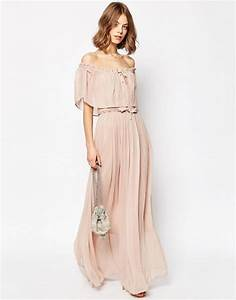asos asos ruffle and tiered off shoulder maxi dress With robe longue épaules dénudées