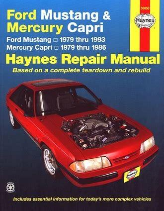 how to download repair manuals 1993 mercury capri electronic valve timing ford mustang mercury capri repair manual 1979 1993 haynes