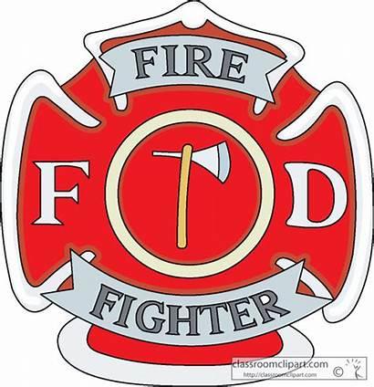 Badge Fireman Clipart Fire Badges Firefighter Week