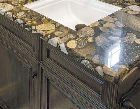 river rock granite creates  unique countertop
