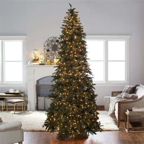 10 foot alim white christmaa tree finley home 10 ft classic pine clear pre lit slim tree trees at hayneedle