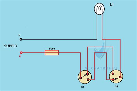 Circuit Diagram For Staircase Wiring by Staircase Wiring Circuit Diagram Working
